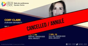 ANNULÉ: Série de Conférences - Cory Clark @ Salle 404, Thomson House, McGill