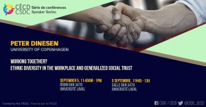 Série de Conférences - Peter Dinesen (ULaval) @ Salle DKN 3470, Université Laval