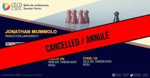 ANNULÉ: Série de Conférences - Jonathan Mummolo @ Salle 404, Thomson House, McGill University