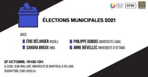 Roundtable - Municipal Elections 2021 @ B-3280, Jean-Brillant, UdeM & online (Zoom)